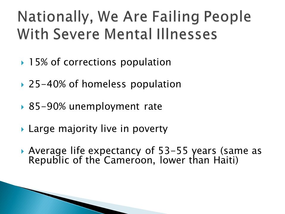  15% of corrections population  25-40% of homeless population  85-90% unemployment rate  Large majority live in poverty  Average life expectancy of 53-55 years (same as Republic of the Cameroon, lower than Haiti)