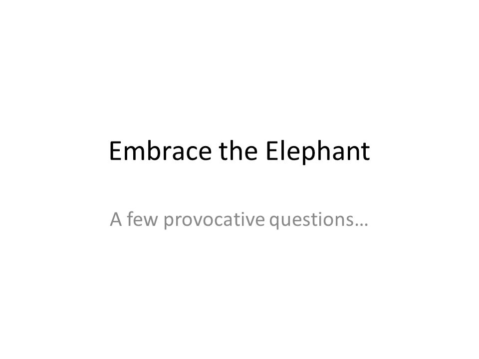 Embrace the Elephant A few provocative questions…