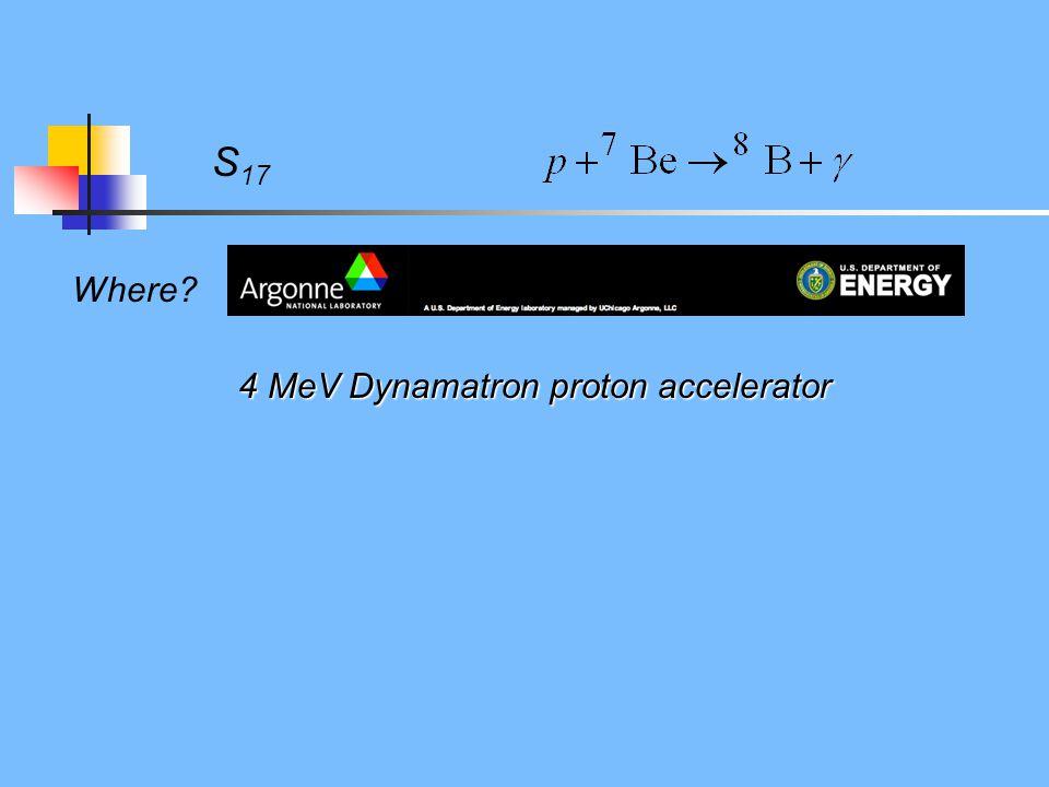 S 17 Where? 4 MeV Dynamatron proton accelerator