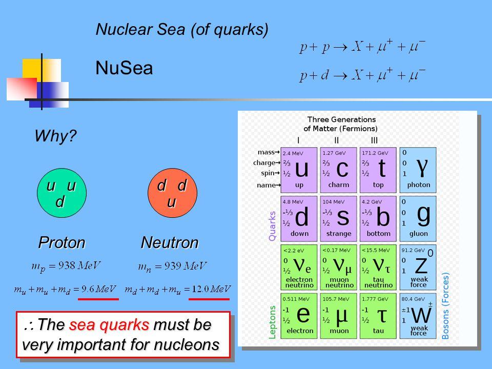 Why? NuSea Nuclear Sea (of quarks) Proton uu d Neutron u dd The sea quarks must be very important for nucleons  The sea quarks must be very important