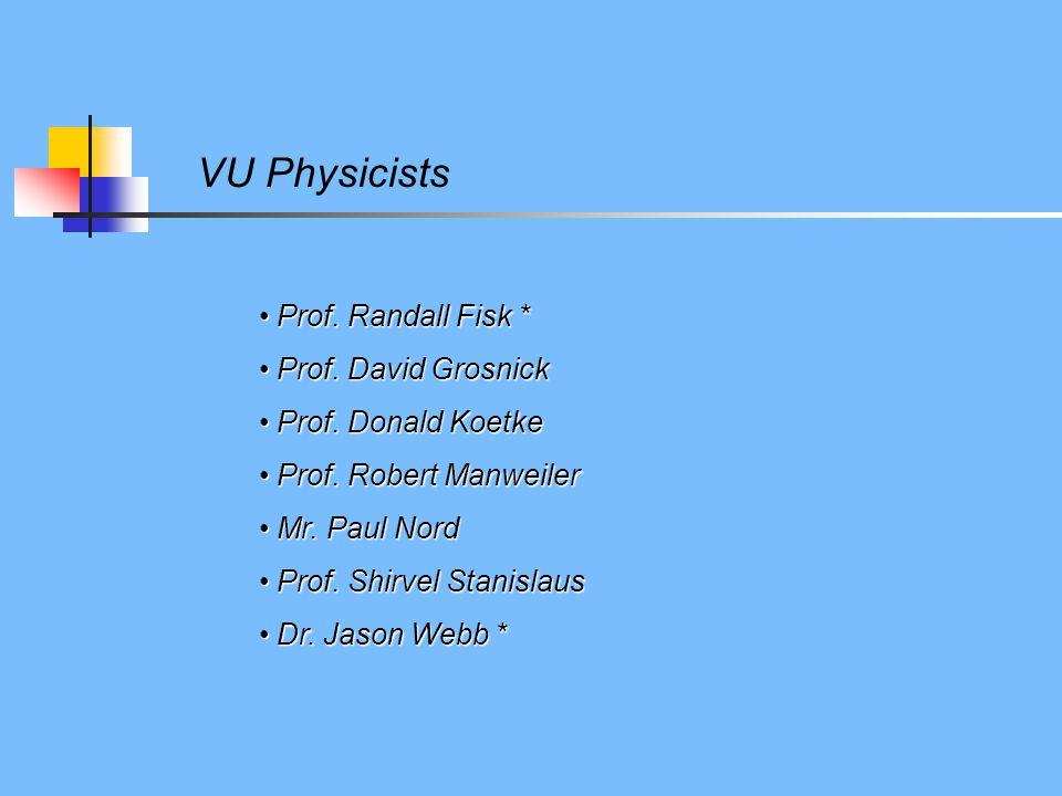 VU Physicists Prof. Randall Fisk * Prof. Randall Fisk * Prof. David Grosnick Prof. David Grosnick Prof. Donald Koetke Prof. Donald Koetke Prof. Robert