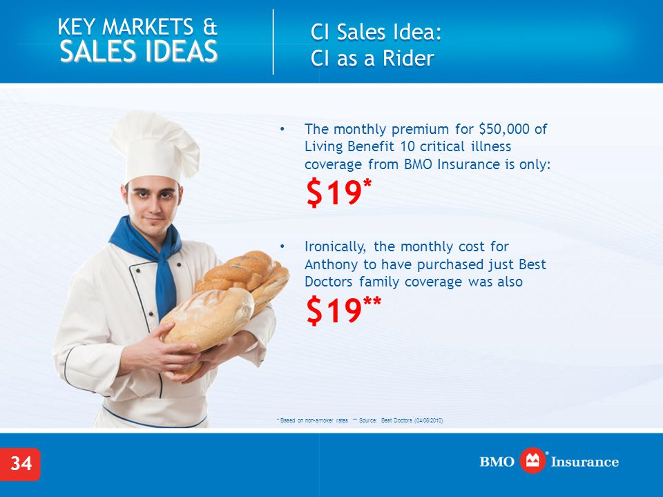 34 KEY MARKETS & SALES IDEAS The monthly premium for $50,000 of Living Benefit 10 critical illness coverage from BMO Insurance is only: $19 * Ironically, the monthly cost for Anthony to have purchased just Best Doctors family coverage was also $19 ** CI Sales Idea: CI as a Rider * Based on non-smoker rates ** Source: Best Doctors (04/06/2010)