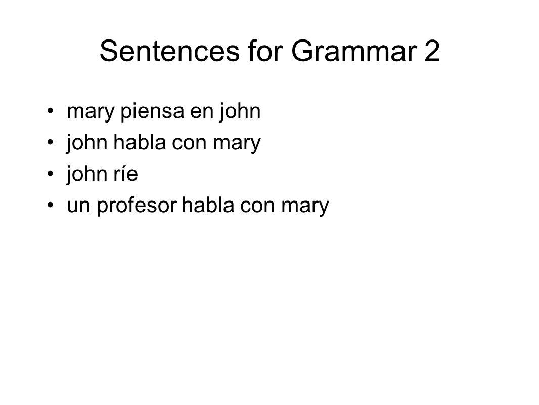 Sentences for Grammar 2 mary piensa en john john habla con mary john ríe un profesor habla con mary