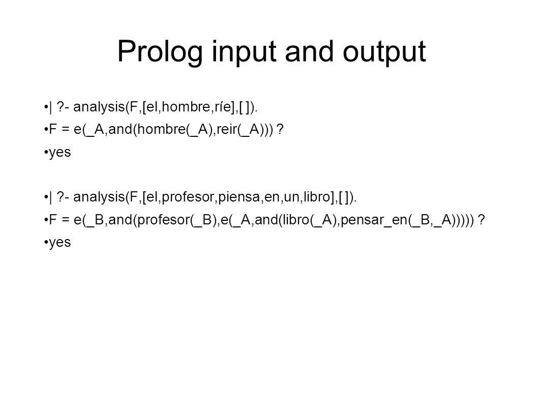 Prolog input and output | ?- analysis(F,[el,hombre,ríe],[ ]).