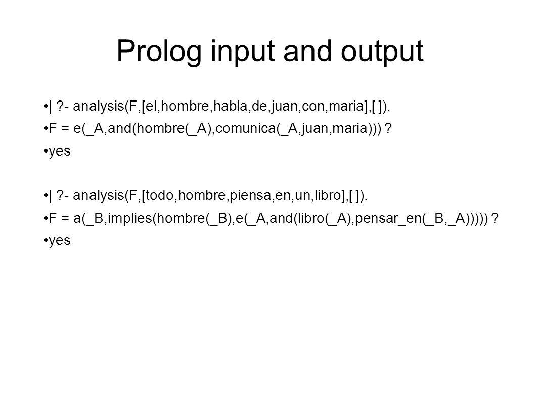 Prolog input and output | ?- analysis(F,[el,hombre,habla,de,juan,con,maria],[ ]).