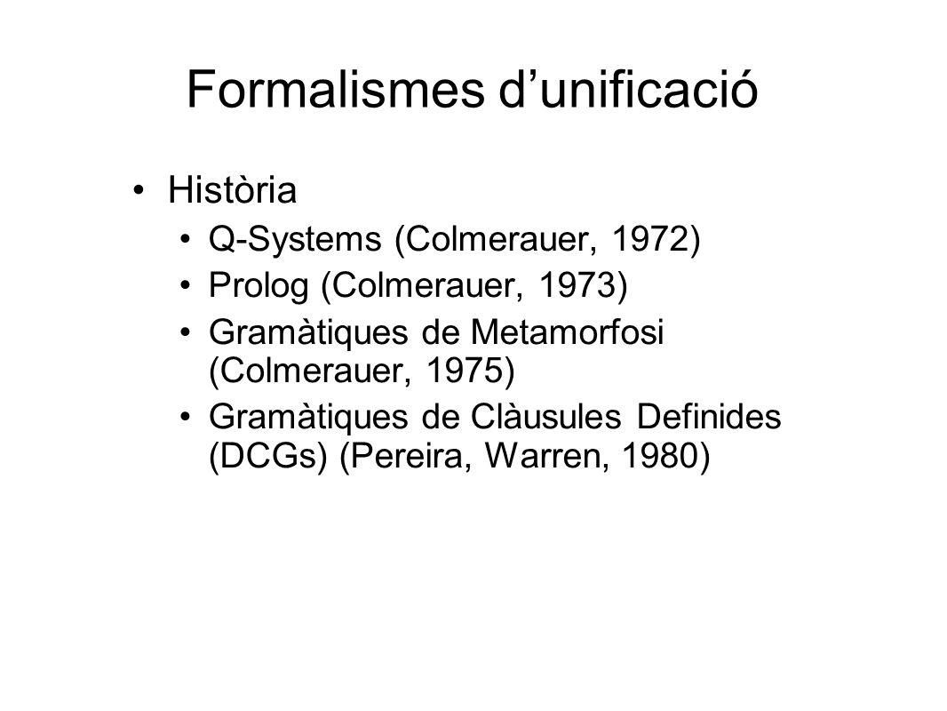 Formalismes d'unificació Història Q-Systems (Colmerauer, 1972) Prolog (Colmerauer, 1973) Gramàtiques de Metamorfosi (Colmerauer, 1975) Gramàtiques de Clàusules Definides (DCGs) (Pereira, Warren, 1980)