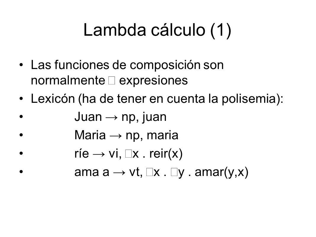 Lambda cálculo (1) Las funciones de composición son normalmente  expresiones Lexicón (ha de tener en cuenta la polisemia): Juan → np, juan Maria → np, maria ríe → vi,  x.