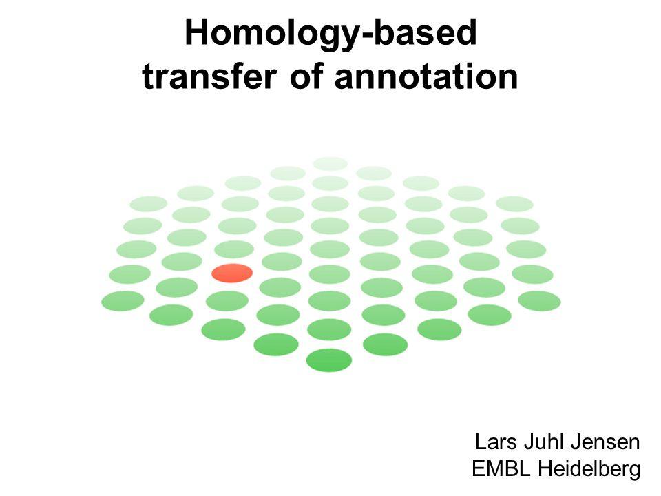 Homology-based transfer of annotation Lars Juhl Jensen EMBL Heidelberg