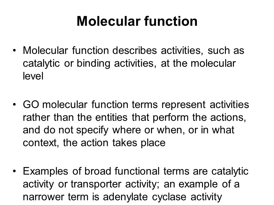 Biological process A biological process is series of events accomplished by one or more ordered assemblies of molecular functions An example of a broad GO biological process terms is signal transduction; examples of more specific terms are pyrimidine metabolism or alpha- glucoside transport It can be difficult to distinguish between a biological process and a molecular function