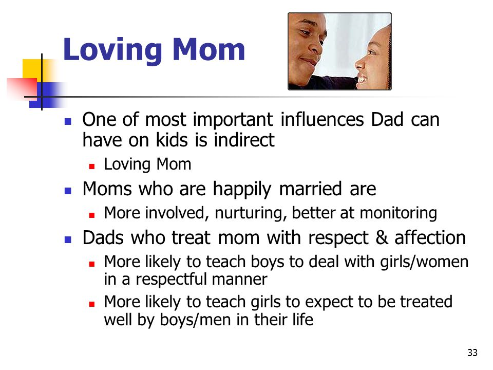 33 Loving Mom One of most important influences Dad can have on kids is indirect Loving Mom Moms who are happily married are More involved, nurturing, better at monitoring Dads who treat mom with respect & affection More likely to teach boys to deal with girls/women in a respectful manner More likely to teach girls to expect to be treated well by boys/men in their life