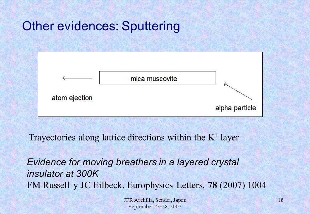 JFR Archilla, Sendai, Japan September 25-28, 2007 18 Other evidences: Sputtering Trayectories along lattice directions within the K + layer Evidence f