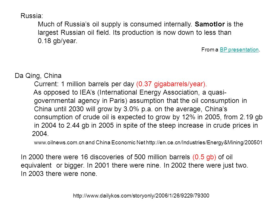 In 2000 there were 16 discoveries of 500 million barrels (0.5 gb) of oil equivalent or bigger.