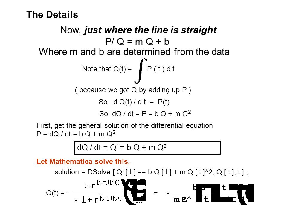 Now, just where the line is straight P/ Q = m Q + b dQ / dt = Q' = b Q + m Q 2 First, get the general solution of the differential equation P = dQ / dt = b Q + m Q 2 Let Mathematica solve this.