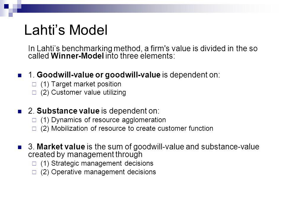 Lahti's Model In Lahti's benchmarking method, a firm s value is divided in the so called Winner-Model into three elements: 1.