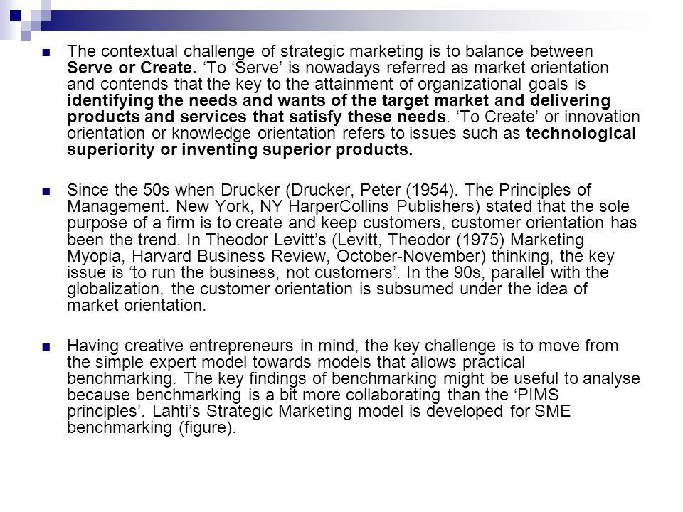 The contextual challenge of strategic marketing is to balance between Serve or Create.