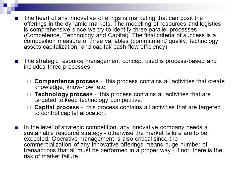 The heart of any innovative offerings is marketing that can posit the offerings in the dynamic markets.