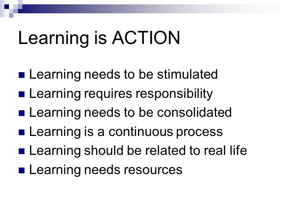 Learning is ACTION Learning needs to be stimulated Learning requires responsibility Learning needs to be consolidated Learning is a continuous process