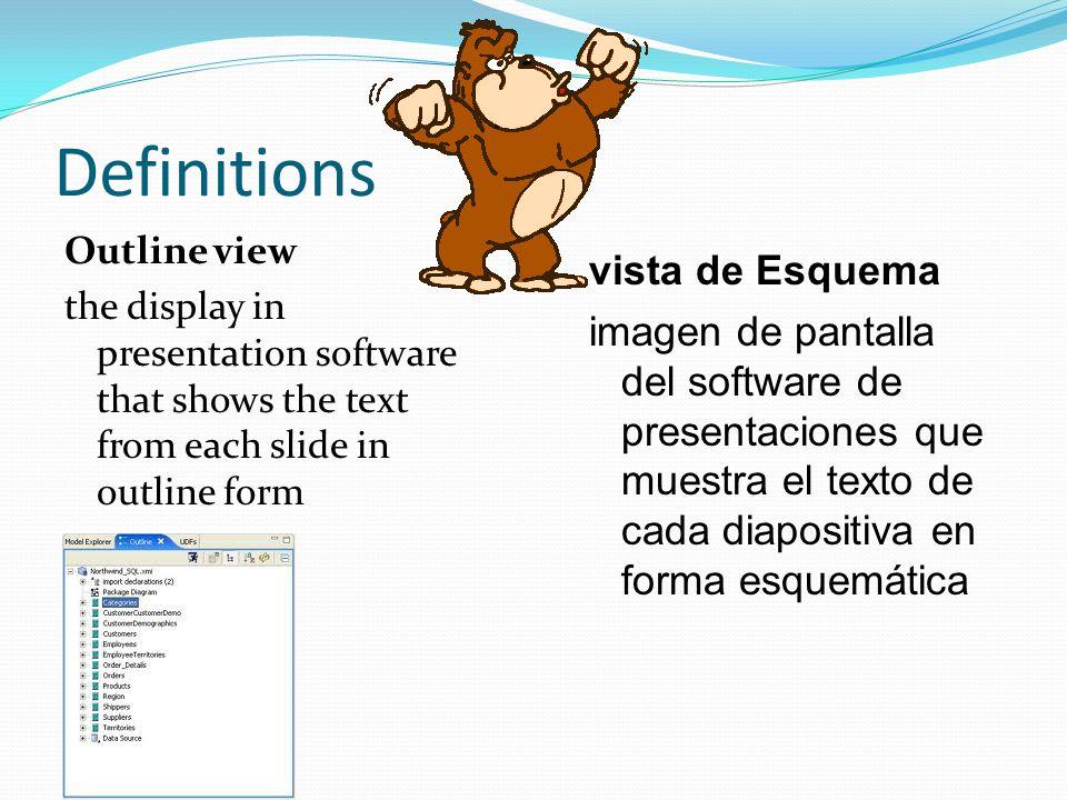 Definitions Outline view the display in presentation software that shows the text from each slide in outline form vista de Esquema imagen de pantalla del software de presentaciones que muestra el texto de cada diapositiva en forma esquemática