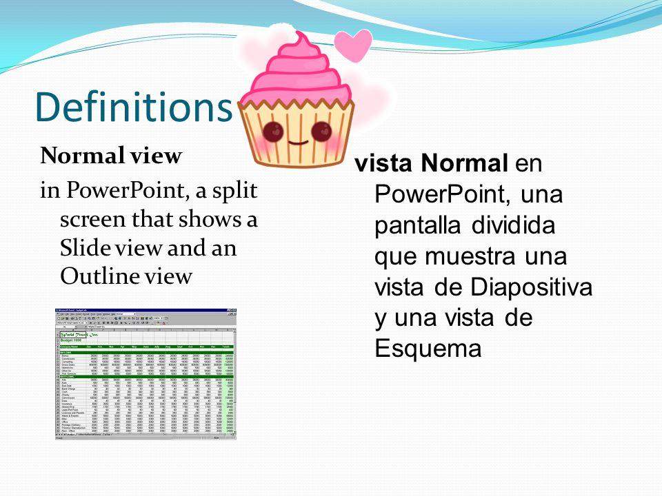 Definitions Normal view in PowerPoint, a split screen that shows a Slide view and an Outline view vista Normal en PowerPoint, una pantalla dividida que muestra una vista de Diapositiva y una vista de Esquema