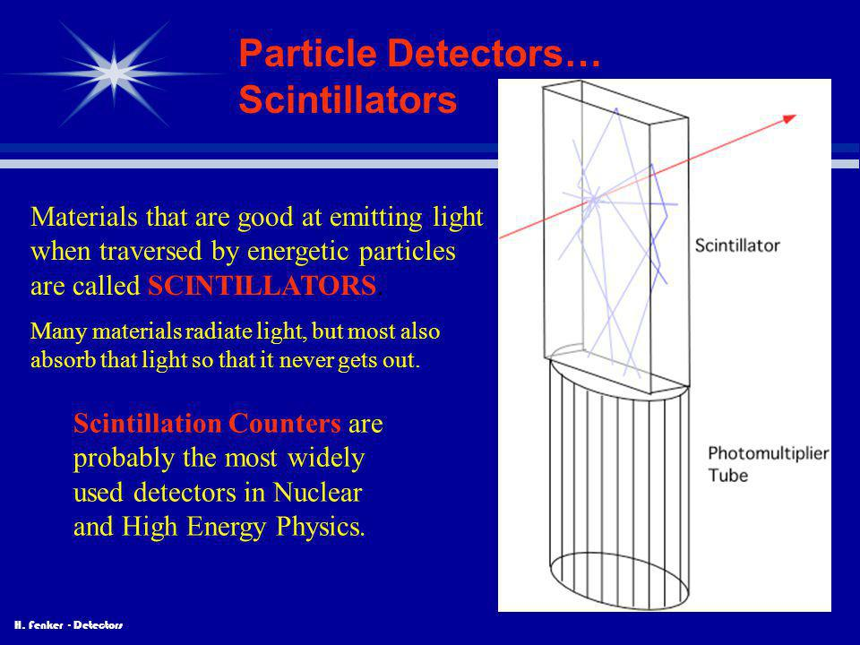 H. Fenker - Detectors Particle Detectors… Scintillators Materials that are good at emitting light when traversed by energetic particles are called SCI