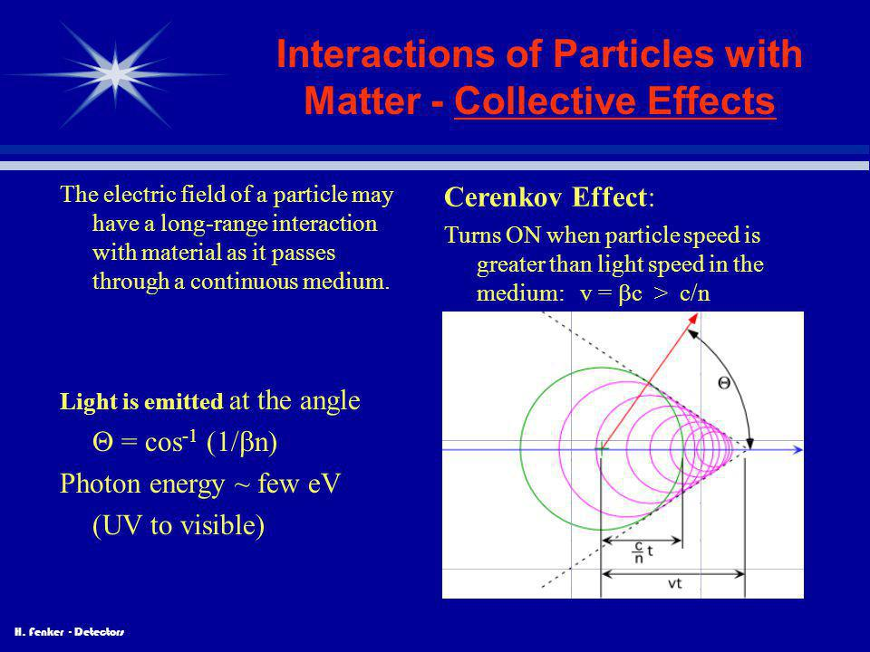 H. Fenker - Detectors Interactions of Particles with Matter - Collective Effects The electric field of a particle may have a long-range interaction wi
