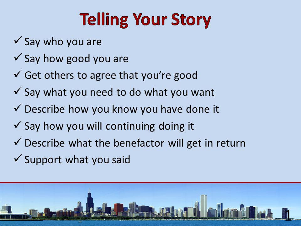 Say who you are Say how good you are Get others to agree that you're good Say what you need to do what you want Describe how you know you have done it Say how you will continuing doing it Describe what the benefactor will get in return Support what you said 1