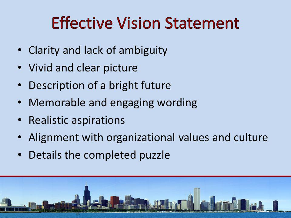 Clarity and lack of ambiguity Vivid and clear picture Description of a bright future Memorable and engaging wording Realistic aspirations Alignment with organizational values and culture Details the completed puzzle
