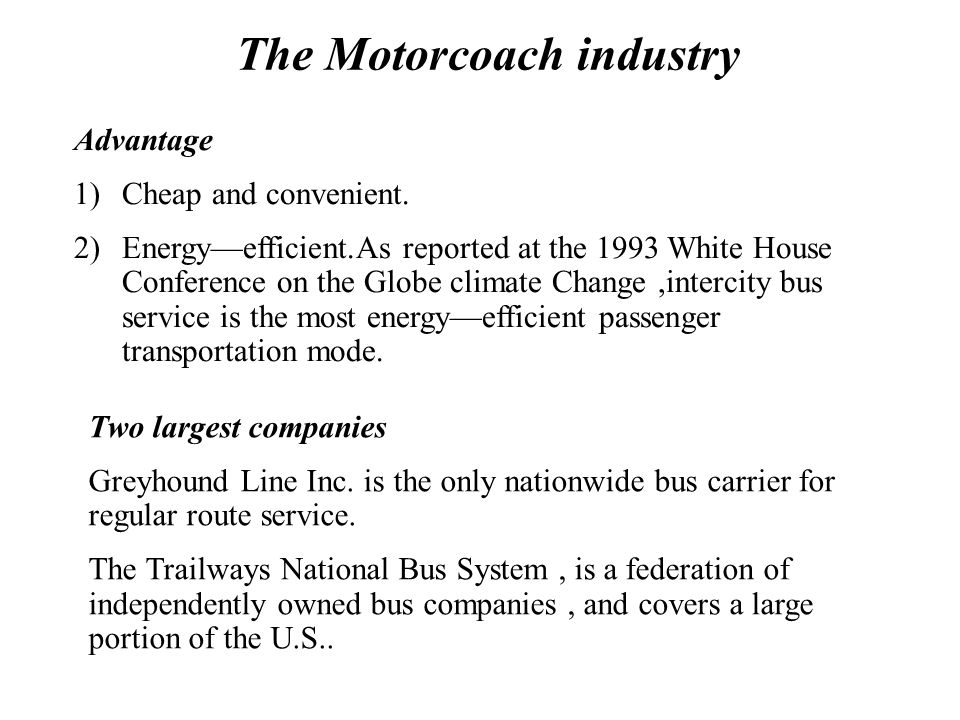 The Motorcoach industry Introduction The American Bus Association reports that there are between 26000 and 28000 commercial buses in use for charters,