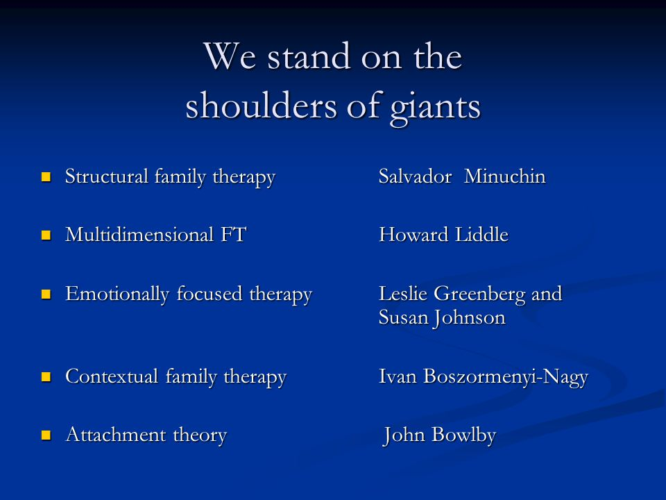 We stand on the shoulders of giants Structural family therapy Salvador Minuchin Structural family therapy Salvador Minuchin Multidimensional FT Howard