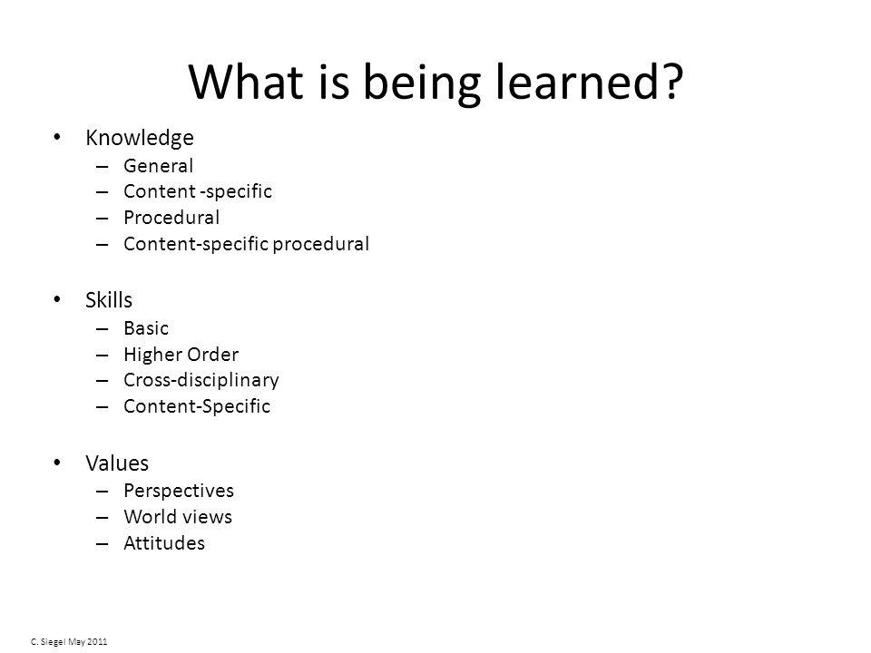 What is being learned.