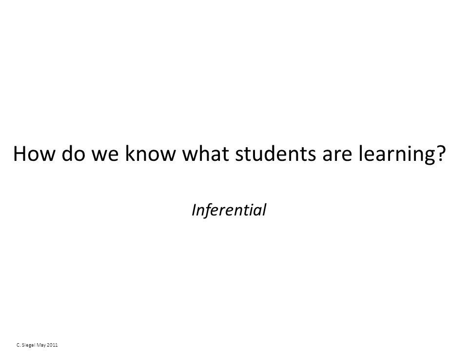 How do we know what students are learning Inferential C. Siegel May 2011