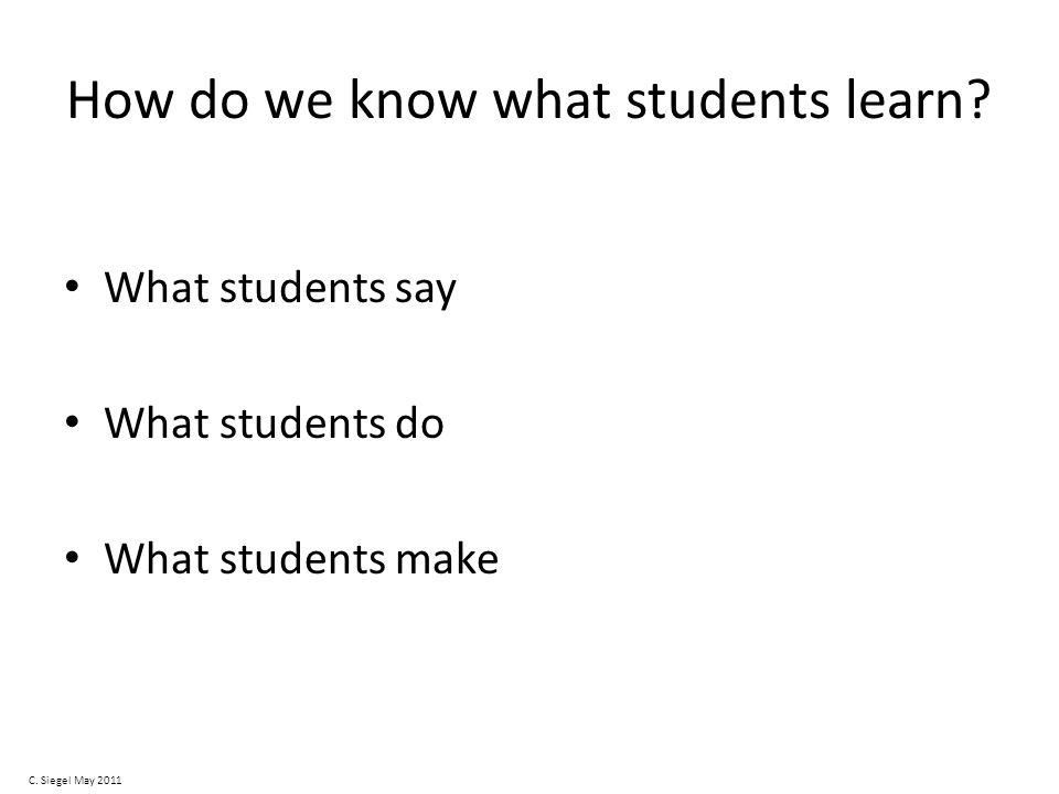 How do we know what students learn. What students say What students do What students make C.