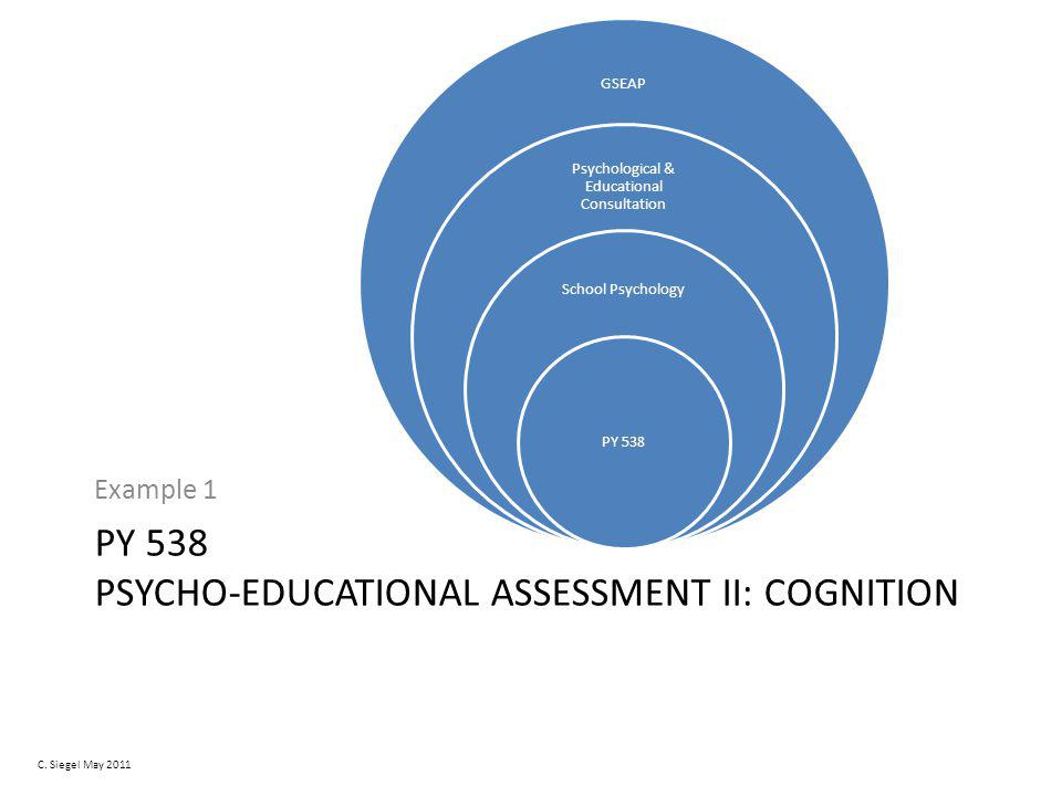 PY 538 PSYCHO-EDUCATIONAL ASSESSMENT II: COGNITION Example 1 GSEAP Psychological & Educational Consultation School Psychology PY 538 C.