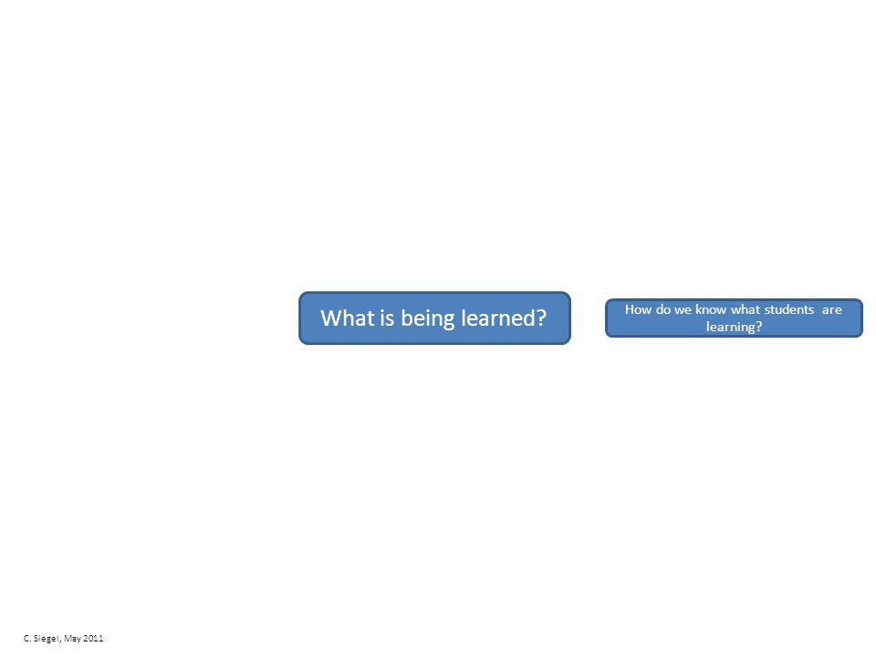 What is being learned How do we know what students are learning C. Siegel, May 2011
