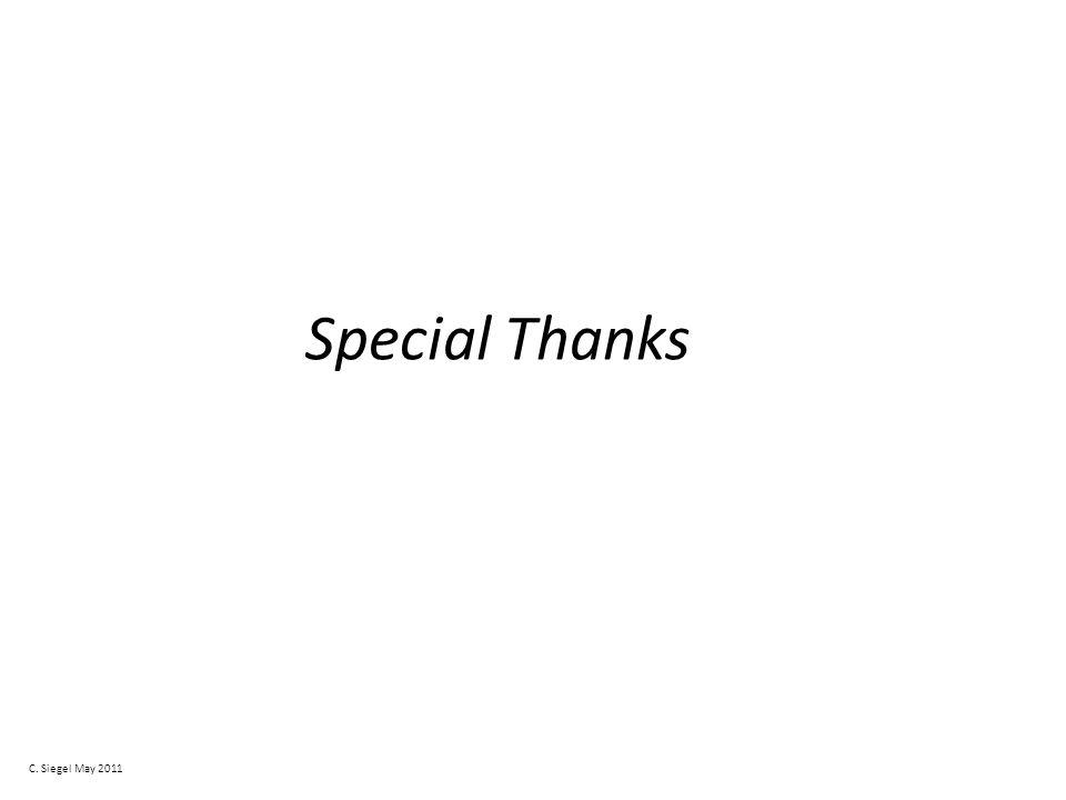 Special Thanks C. Siegel May 2011
