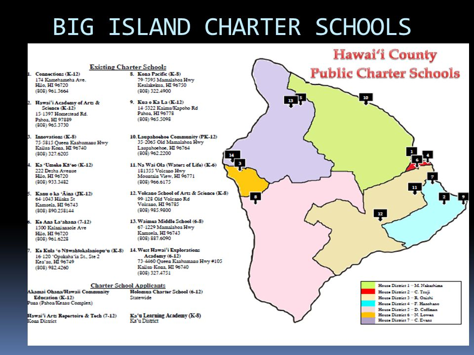 1 Rep M.Nakashima Charter Students: 220 Title I: 69% Jobs: 29 State Per Pupil Funding: $1.3 Mil