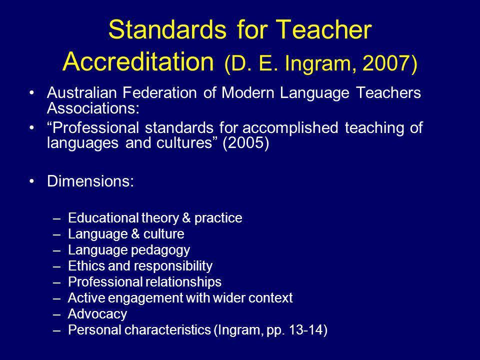 Standards for Teacher Accreditation (D. E.
