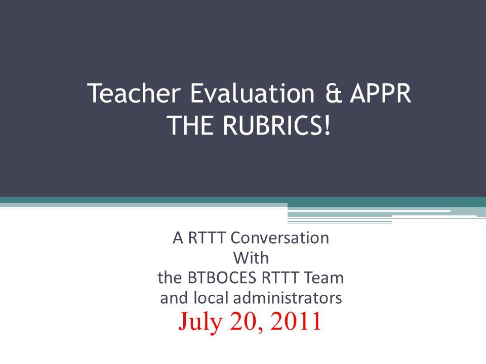 Teacher Evaluation & APPR THE RUBRICS.