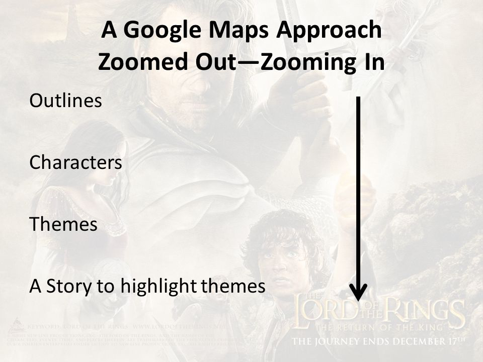 A Google Maps Approach Zoomed Out—Zooming In Outlines Characters Themes A Story to highlight themes
