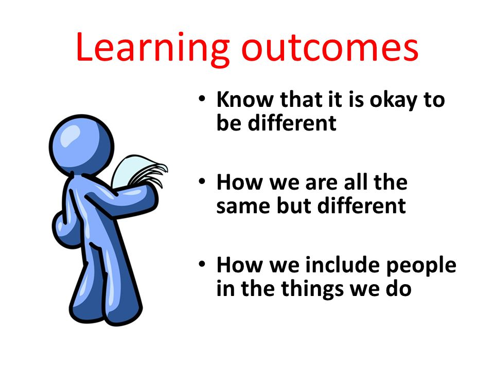 Learning outcomes Know that it is okay to be different How we are all the same but different How we include people in the things we do