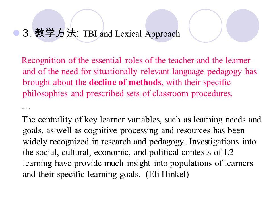 3. 教学方法 : TBI and Lexical Approach Recognition of the essential roles of the teacher and the learner and of the need for situationally relevant langua