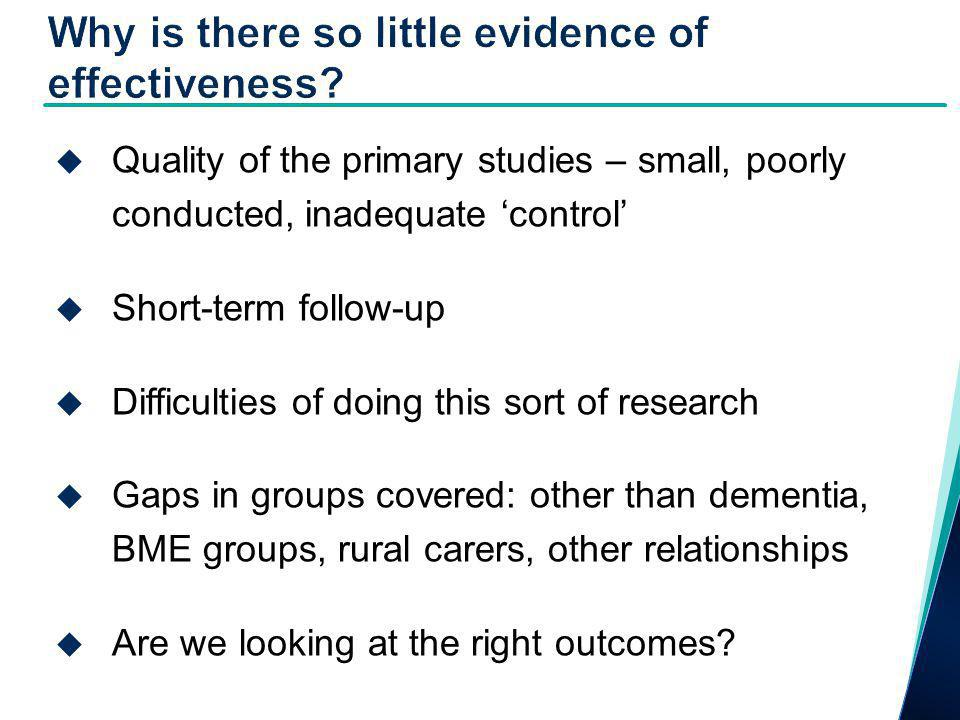  Quality of the primary studies – small, poorly conducted, inadequate 'control'  Short-term follow-up  Difficulties of doing this sort of research  Gaps in groups covered: other than dementia, BME groups, rural carers, other relationships  Are we looking at the right outcomes