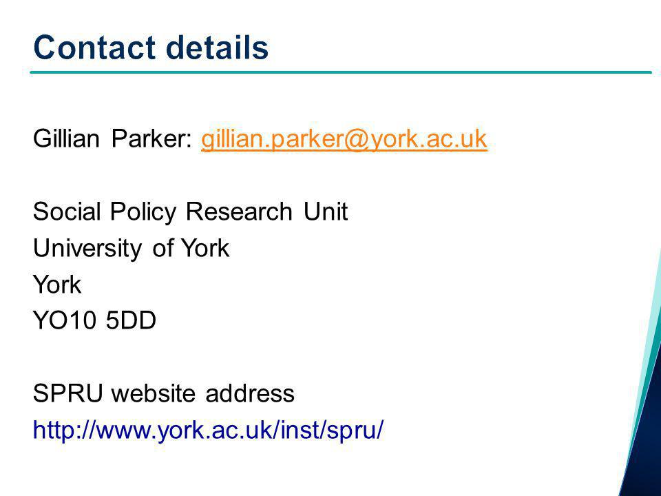 Gillian Parker: gillian.parker@york.ac.ukgillian.parker@york.ac.uk Social Policy Research Unit University of York York YO10 5DD SPRU website address http://www.york.ac.uk/inst/spru/