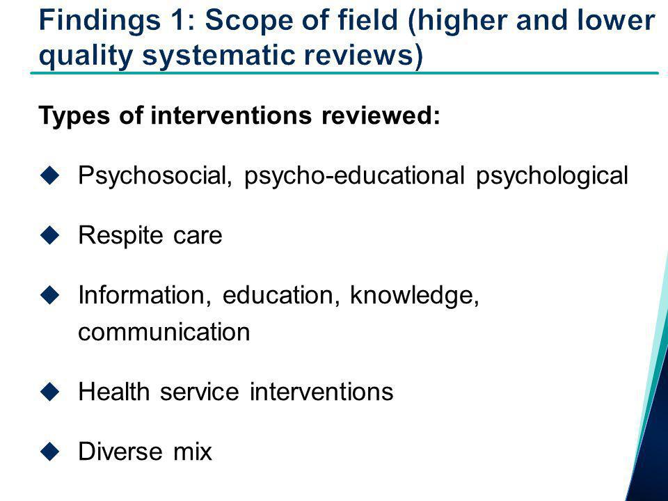 Types of interventions reviewed:  Psychosocial, psycho-educational psychological  Respite care  Information, education, knowledge, communication  Health service interventions  Diverse mix