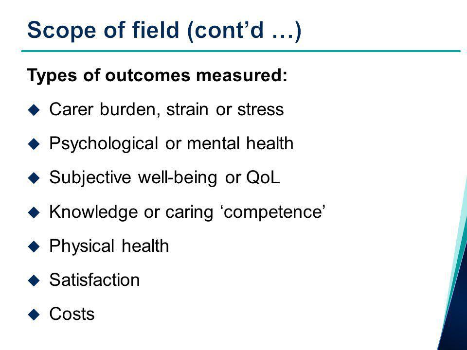 Types of outcomes measured:  Carer burden, strain or stress  Psychological or mental health  Subjective well-being or QoL  Knowledge or caring 'competence'  Physical health  Satisfaction  Costs