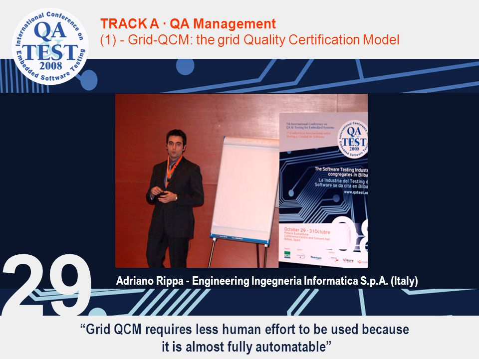 Grid QCM requires less human effort to be used because it is almost fully automatable TRACK A · QA Management (1) - Grid-QCM: the grid Quality Certification Model Adriano Rippa - Engineering Ingegneria Informatica S.p.A.