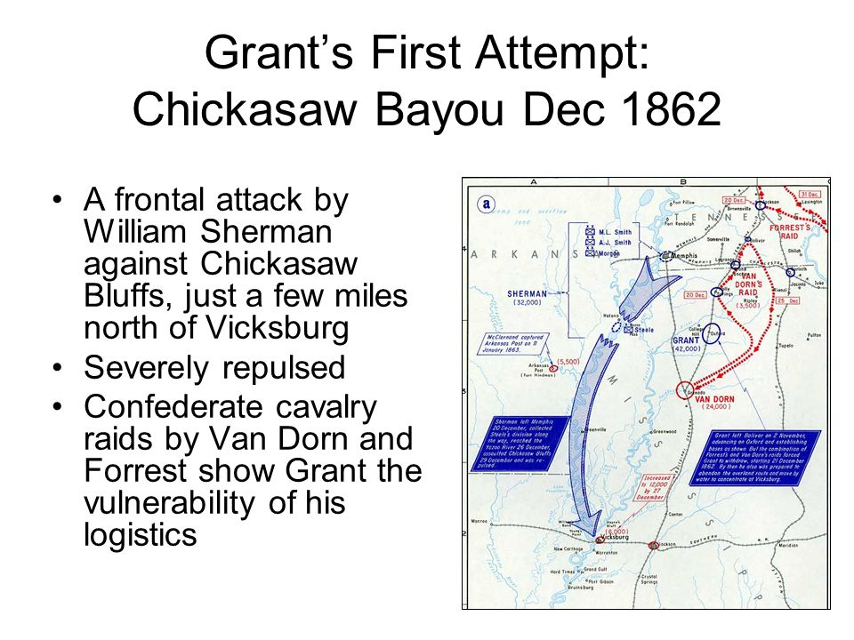 Grant's First Attempt: Chickasaw Bayou Dec 1862 A frontal attack by William Sherman against Chickasaw Bluffs, just a few miles north of Vicksburg Severely repulsed Confederate cavalry raids by Van Dorn and Forrest show Grant the vulnerability of his logistics
