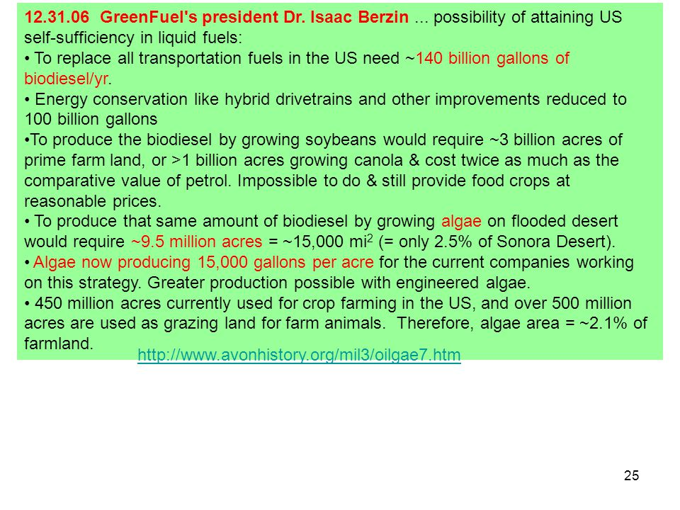 25 12.31.06 GreenFuel's president Dr. Isaac Berzin... possibility of attaining US self-sufficiency in liquid fuels: To replace all transportation fuel