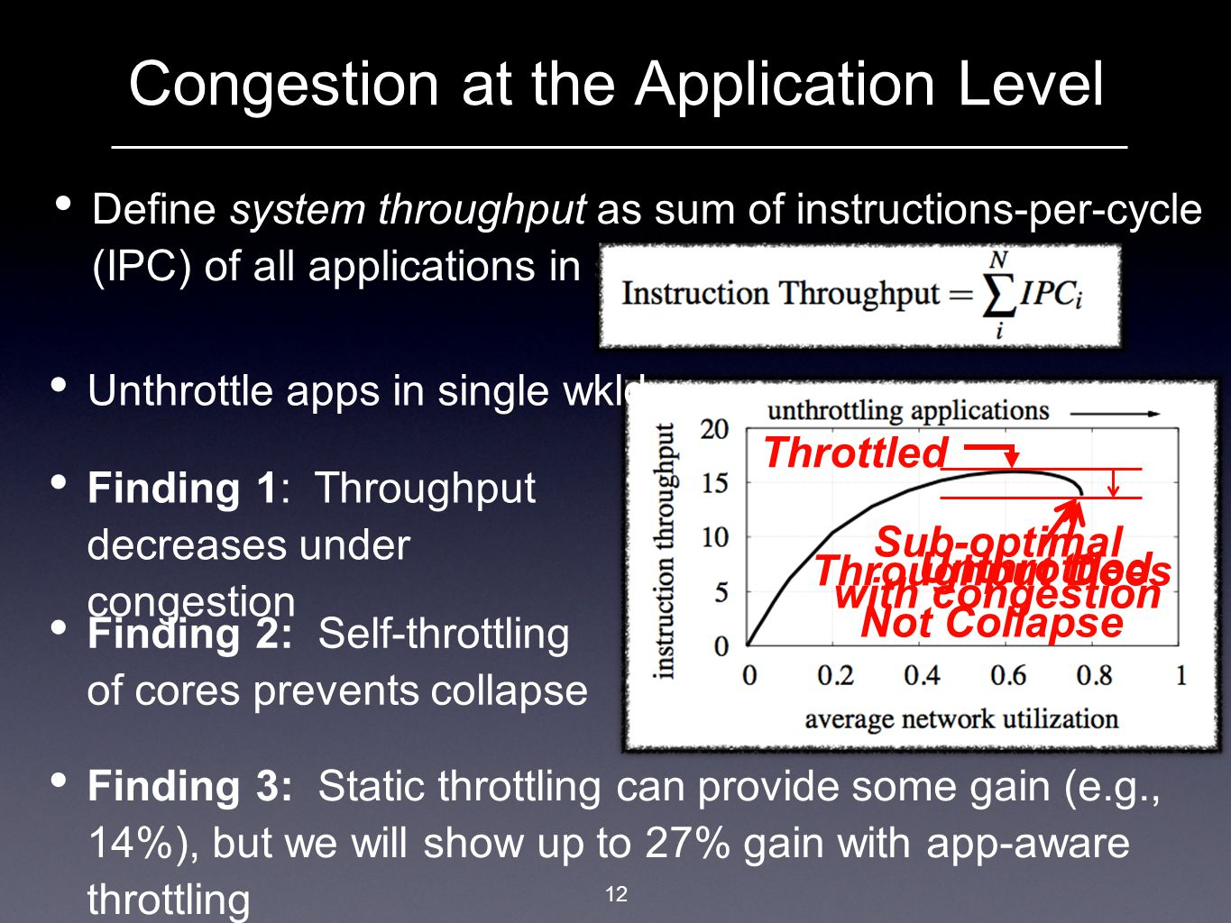 12 Congestion at the Application Level Define system throughput as sum of instructions-per-cycle (IPC) of all applications in system: Unthrottle apps in single wkld Sub-optimal with congestion Finding 1: Throughput decreases under congestion Finding 2: Self-throttling of cores prevents collapse Finding 3: Static throttling can provide some gain (e.g., 14%), but we will show up to 27% gain with app-aware throttling Throughput Does Not Collapse Throttled Unthrottled