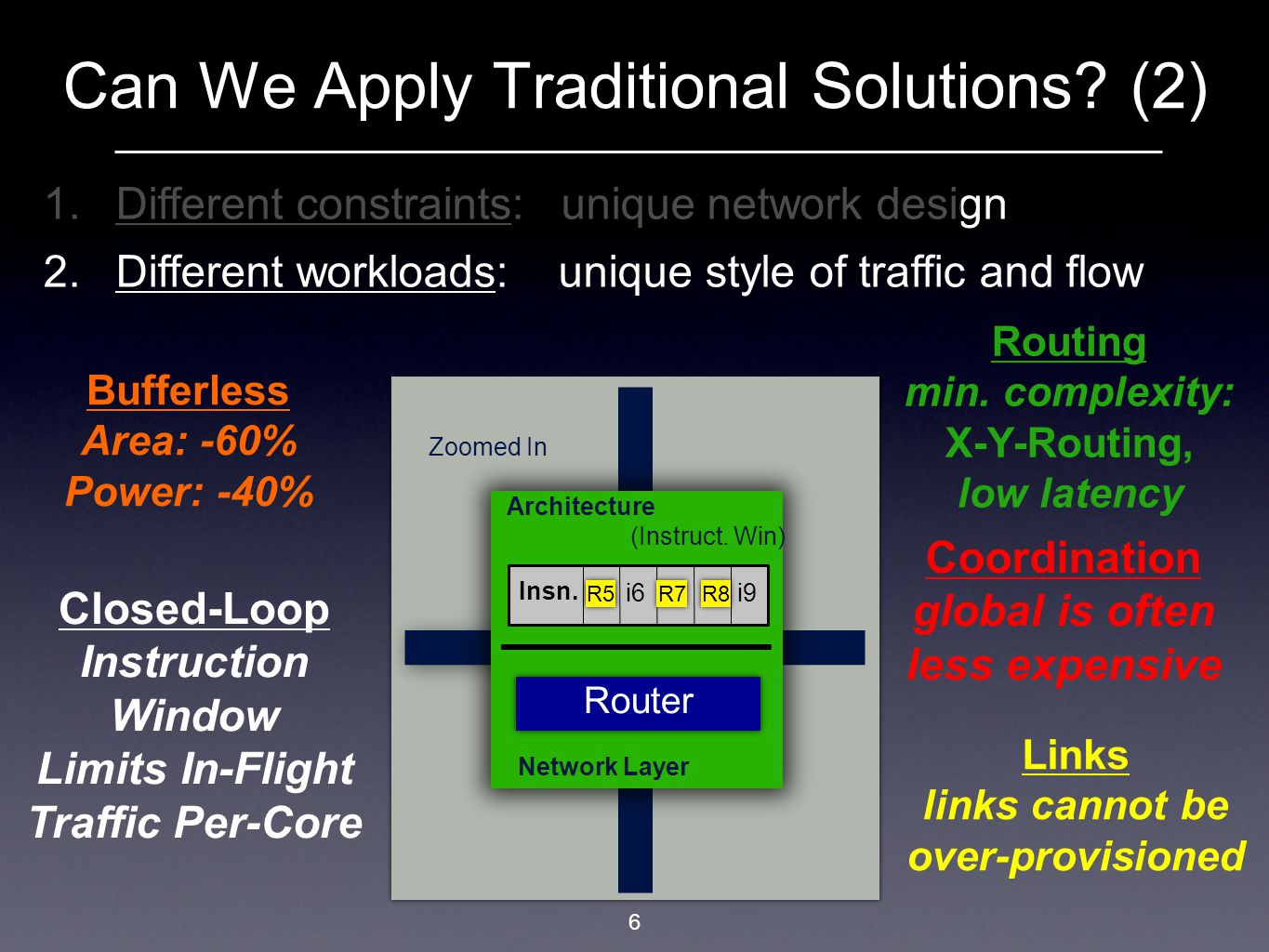 Break the results down by the application mix H=High, M=Medium, L=Low … and mixes of such workloads As expected, majority of benefits come from heavier workloads Do not unfairly throttle down lower intensity workloads Improvements greater in larger sized network (8x8) Breakdown by Workload 27